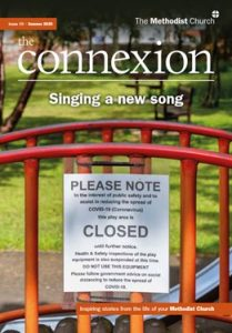 Magazine cover - Singing a new song - with a 'closed' sign on a gate