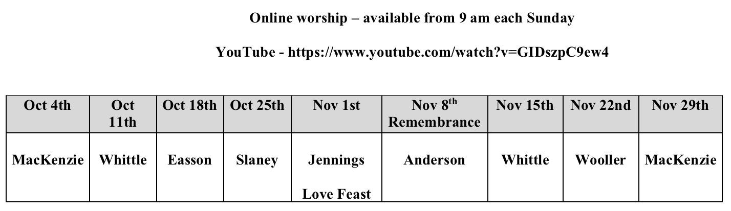 Online preaching plan October-November 2020