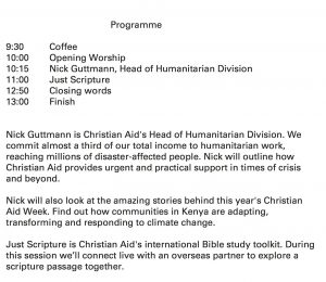 Details of Christian Aid gathering