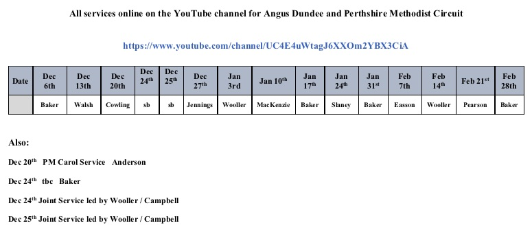 Preaching plan December 20 to February 21 revised