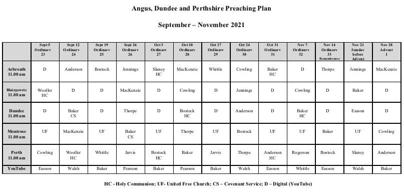 preaching plan September to November 2021